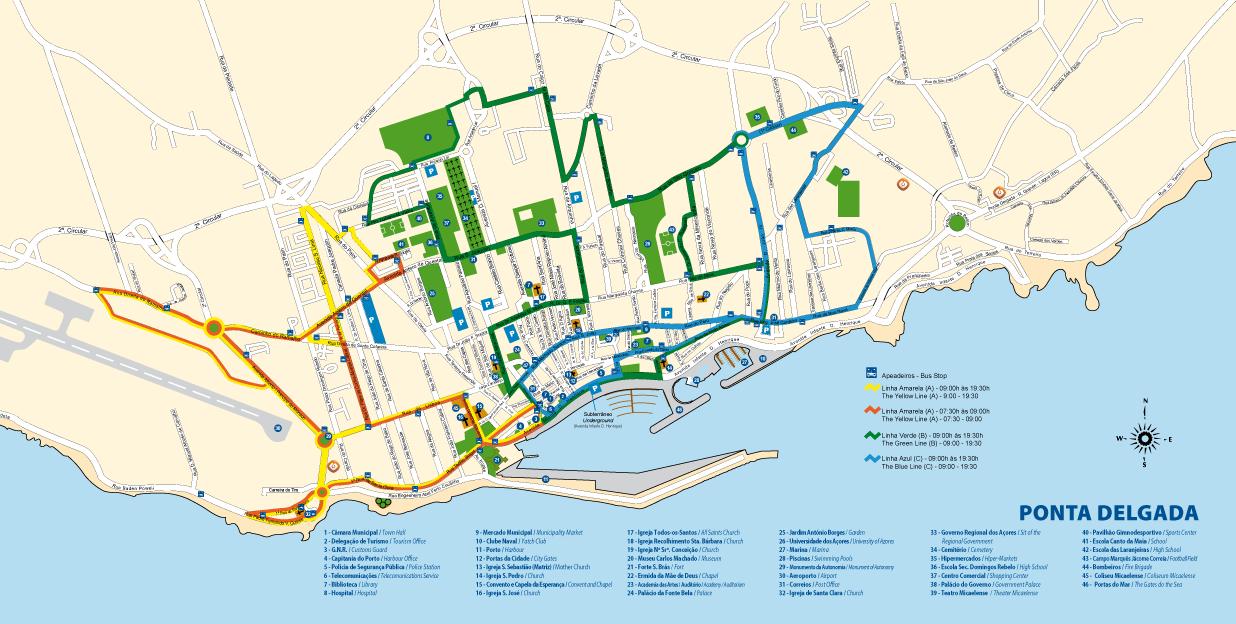 mapa de ponta delgada Excursões Locais: MD Ponta Delgada, Pedonal | São Miguel   Angra2000 mapa de ponta delgada